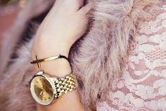 accessorize - faux fur, gold watch, cross bracelet, lace shirt