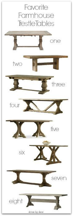 Favorite farmhouse pedestal and trestle tables