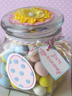 Simple Easter Candy Jar.  Quick Gift idea for anyone!