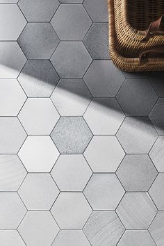 Gray and white bath design or shower design using our lava tiles (from our Magma collection). Hexagon Mosaic Tile, Mosaic Bathroom, Bathroom Tile Designs, Bathroom Flooring, Bathroom Ideas, Country Style Bathrooms, Chic Bathrooms, Sparkle Tiles, Eclectic Mirrors