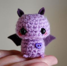 Baby Purple Bat - Kawaii Mini Amigurumi by twistyfishies