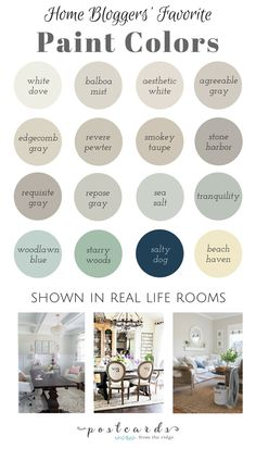 Tried and true paint colors shown in home bloggers' homes. Benjamin Moore, Sherwin Williams, and Valspar paints are featured.