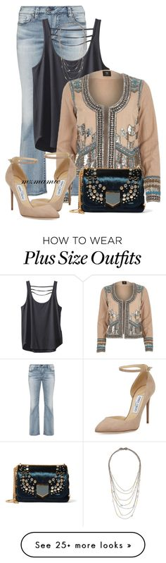 """""""Untitled #2772"""" by mzmamie on Polyvore featuring Silver Jeans Co., Kavu, Alexis Bittar, River Island and Jimmy Choo"""