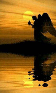 Angel  at the end  of the grase