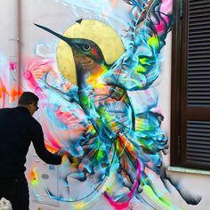 Une sélection des créations street art de l'artiste brésilienL7M, quimet en scène des oiseaux dans des compositions énergiques,explosives et colorée