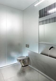 steel bathroom trough sink - art[house] - omaha nebraska - tack architects - photo by tom kessler