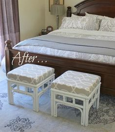 fabulous stool makeover... gotta say i LOVE the rug, too, and the curtains and bedding aren't bad either.