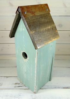Rustic Birdhouse, Handmade Wooden Bird House For Sale, Cedar With Rusty Tin…