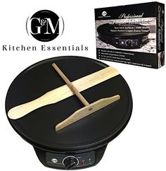 Professional Crepe Maker Machine by GM Kitchen Essentials  NonStick 12 Electric Pancake Griddle Adjustable Temperature Dial  BONUS Batter Spreader  Wooden Spatula >>> Find out more about the great product at the image link.