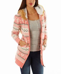 Another great find on #zulily! Pink Fair Isle Faux Fur-Trim Hoodie by Celeb #zulilyfinds