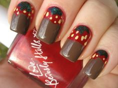 Chocolate Dipped Strawberry Nails