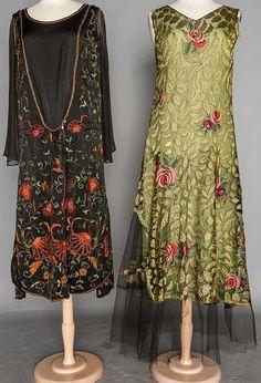Art Déco - Robes à Motif Floral - Dentelle, Voile et Broderies - Années 20