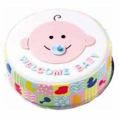 again, easy to draw on sheet cake with simple frosting - then either use a real pacifier, make one from candy or from marzipan