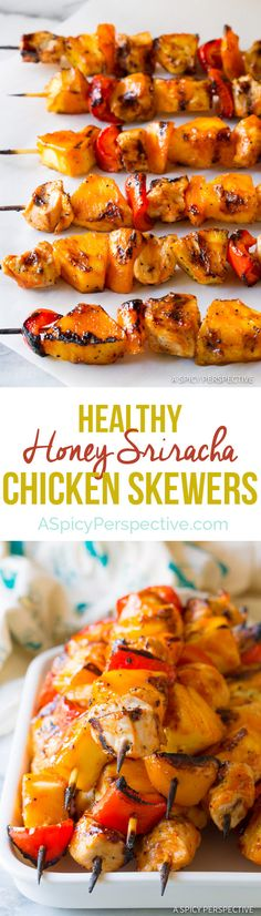 Easy to Make Honey Sriracha Chicken Skewers | ASpicyPerspective.com