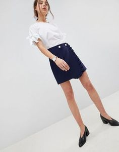 ASOS Tailored Mini Skirt with Ruffle and Pearl Buttons