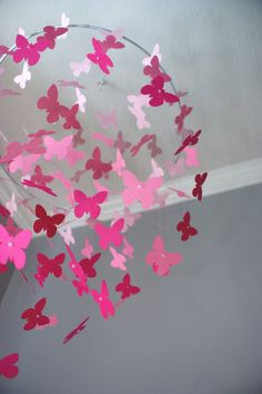 Large Pink Ombre Butterfly Swarm Floating Mobile by CloudPop