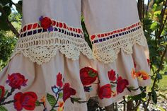 Rustic Boho Embroidered Bloomers  Romantic  Vintage StyleTea Stained Unique Clothing Steampunk Gypsy