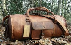 To die for  New Hand-Crafted Shabby Chic Travel Leather Weekend Bag Holdall Overnight Rustic Travel Luggage Tan Brown