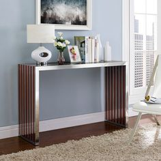 Marik Wood and Steel Console Table - Unique Modern Furniture - Dot & Bo