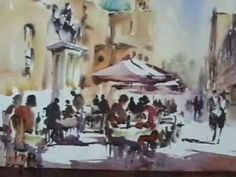 A French Cafe scene - Prt 1 of 2 - loose watercolour - YouTube
