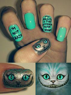>Cheshire Cat ~ Alice in Wonderland<  Nail Art