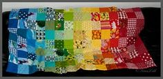 Rainbow patchwork quilt by Tina Laustsen Vesti