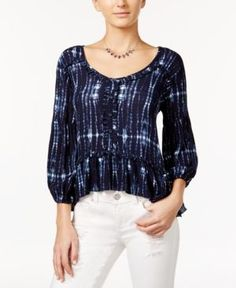 American Rag Tie-Dyed Ruffle Peasant Top, Only at Macy's - Blue XXS