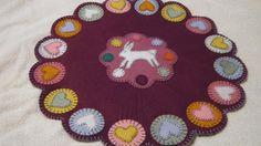 Primitive Spring Easter Bunny Hearts Pennies Wool Applique Large Penny Rug Mat #NaivePrimitive #Seller