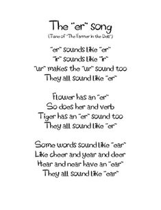 Free!!! Phonics song to teach r controlled vowels...