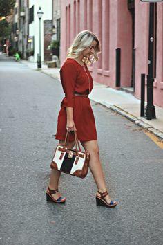 Burnt Orange Dress - Autumn Outfit