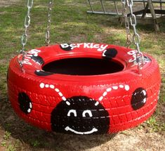 ladybug tire swing | Lady bug tire swing pic #1 | Recycled into Amazing Products