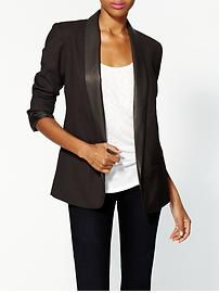 A great way to embrace the leather trend in a subtle way (the trim on a classic blazer!) New womens clothing   Piperlime   Piperlime