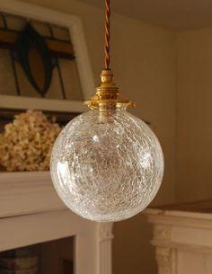 アンティーク風丸いガラスボールのペンダントライト(コード・丸球・ギャラリーA付き) (pl-050d)