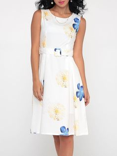 #Fashionmia - #Fashionmia Floral Printed Captivating Round Neck Skater-dress - AdoreWe.com