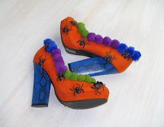 Halloween shoes boots witch shoes, Halloween decor, Thanksgiving, orange blue purple green, spiders,  party OOAK, unusual arrangement