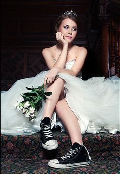 I like the converse with the wedding dress! Who wants to walk in heels all day long anyways?