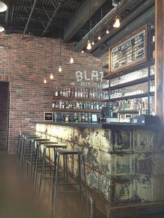 The Blatt located in downtown Omaha NE is one of my favorite restaurants that features rustic industrial decor. The Blatt located in downtown Omaha NE is one of my favorite restaurants that features rustic industrial decor. Vintage Industrial Furniture, Industrial House, Vintage Home Decor, Rustic Furniture, Industrial Style, Rustic Decor, Painted Furniture, Industrial Bars, Vintage Bar