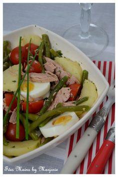 Salade haricots verts, pommes de terre, tomates cerise et thon