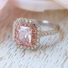 The 14K White Gold Vivid Pink Radiant Cut Sapphire Engagement Ring