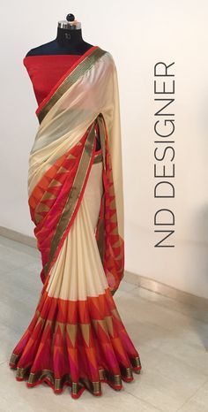 Half Saree Designs, Silk Saree Blouse Designs, Saree Blouse Patterns, Designer Blouse Patterns, Design Patterns, Simple Sarees, Trendy Sarees, Sari Dress, Saree Look