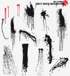Paint Splatter and Drips Free Vector Pack