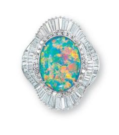 Black opal & diamond ring.