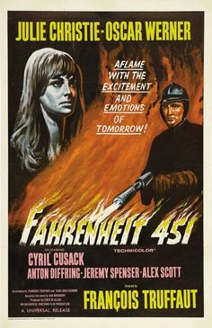 Fahrenheit 451 Directed by François Truffaut. With Oskar Werner, Julie Christie, Cyril Cusack, Anton Diffring. In an oppressive future, a fireman whose duty is to destroy all books begins to question his task. Julie Christie, Cult Movies, Hd Movies, Movies To Watch, Movies Online, Horror Movies, Horror Books, Movies 2019, Movie Film