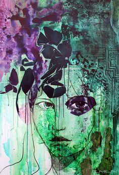 Chrysalide Leila, techniques mixtes sur toile, 150x100 cm, 2014.