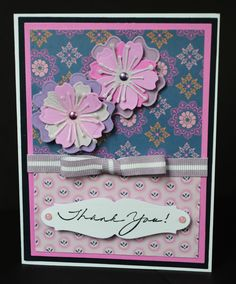 Handmade Thank You Note With Pink 3D Flowers-Thank You Handmade Card Blank Inside-Pink and Blue Handmade Thank You Card by TreasureIslandCards on Etsy