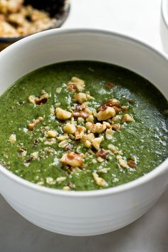 NYT Cooking: This soup was inspired by a Syrian recipe, a spice-laced pan-cooked spinach that is served with yogurt and walnuts on top. This recipe uses the same spices in a puréed spinach soup. It works beautifully. Half of the yogurt is stirred into the soup, contributing a tart flavor that's a great finishing dimension to the soup. The rest is drizzled onto each serving.
