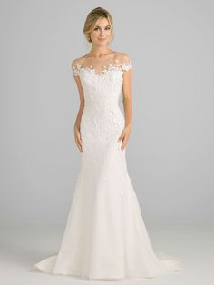 Azul by Liancarlo Fall 2018 wedding dresses off-the-shoulder silhouette with sheer mesh neckline part mariage mariage boheme champetre champetre deco deco robe romantique decorations dresses hairstyles Wedding Dress Necklines, Sexy Wedding Dresses, Elegant Wedding Dress, Perfect Wedding Dress, Bridal Dresses, Wedding Gowns, Illusion Wedding Dresses, Wedding Dress For Short Women, Greek Style Wedding Dress