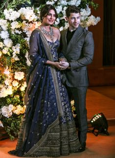 Priyanka Chopra And Nick Jonas Look Like A Dream As They Host Their Wedding Reception In Mumbai - HungryBoo Desi Wedding Dresses, Asian Wedding Dress, Indian Wedding Outfits, Indian Outfits, Bridal Dresses, Indian Groom Dress, Indian Gowns, Indian Designer Outfits, Designer Dresses
