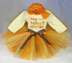 Babys First Thanksgiving Outfit - Girls Tutu Set - Fall Colors Tutu - Girls Tutu, Bodysuit and Headband Set - Size 3-6 Months on Etsy, $38.00