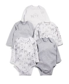 Sheep Long Sleeved Bodysuits (Set of 5)